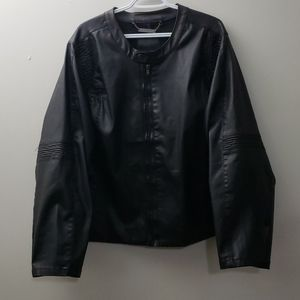 MBLM Womens Black Faux Leather Jacket Size 4X